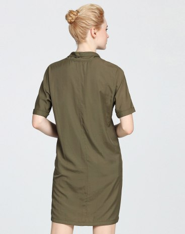 Green Cowl Neck Sleeve Basic Short Dress Shift Women's Dress