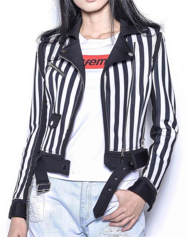 화이트 줄무늬 긴소매 표준 여성 아우터