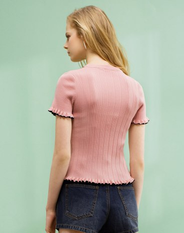 Pink Plain V Neck Short Sleeve Fitted Women's Knitwear