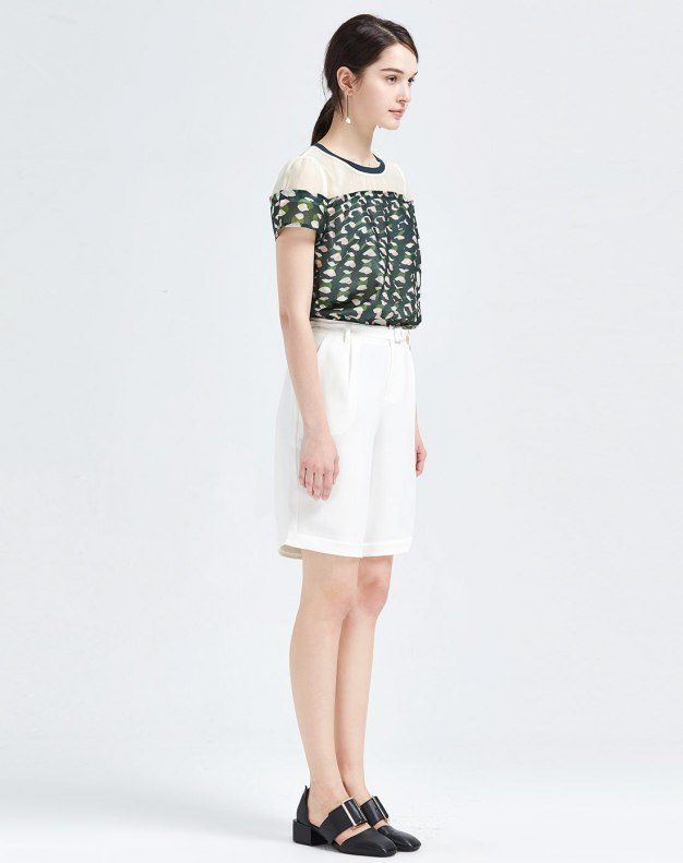 Green Print Round Neck Short Sleeve Fitted Women's T-Shirt