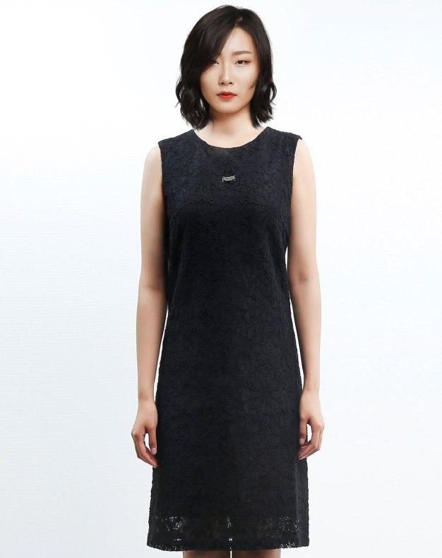 블랙 민소매 기타 여성 드레스