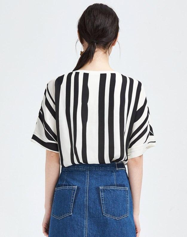 White Stripes Round Neck Short Sleeve Women's T-Shirt