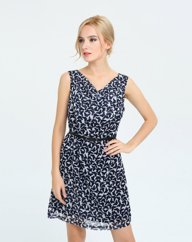 블루 민소매 A라인 여성 드레스