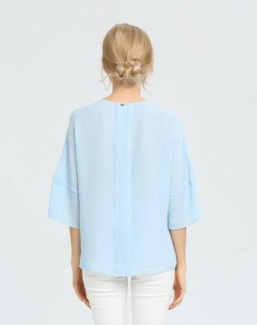 블루 단색의 3/4소매 슬랙스 여성 티셔츠