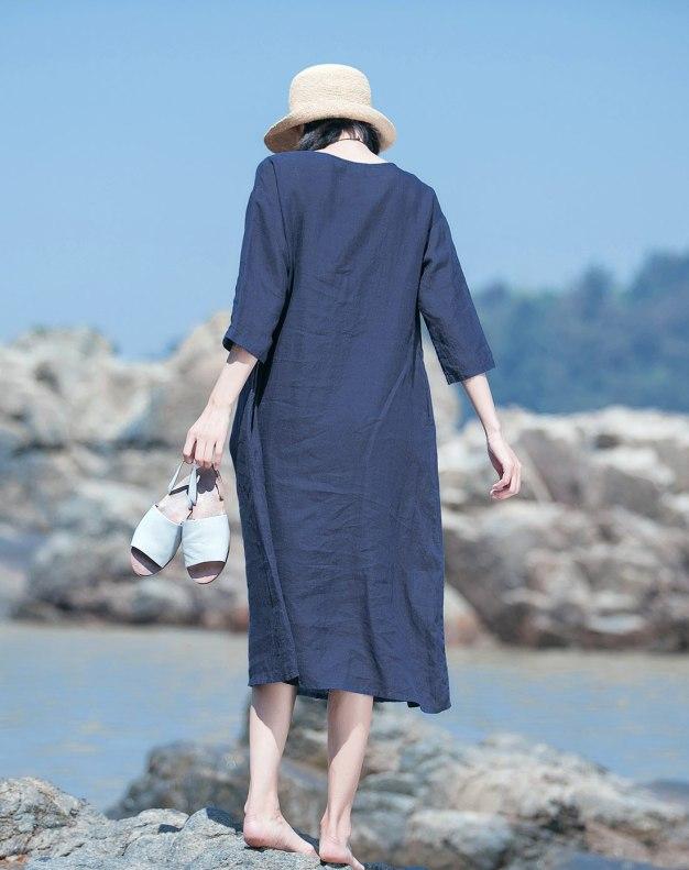 Indigo Round Neck 3/4 Sleeve Loose Women's Dress