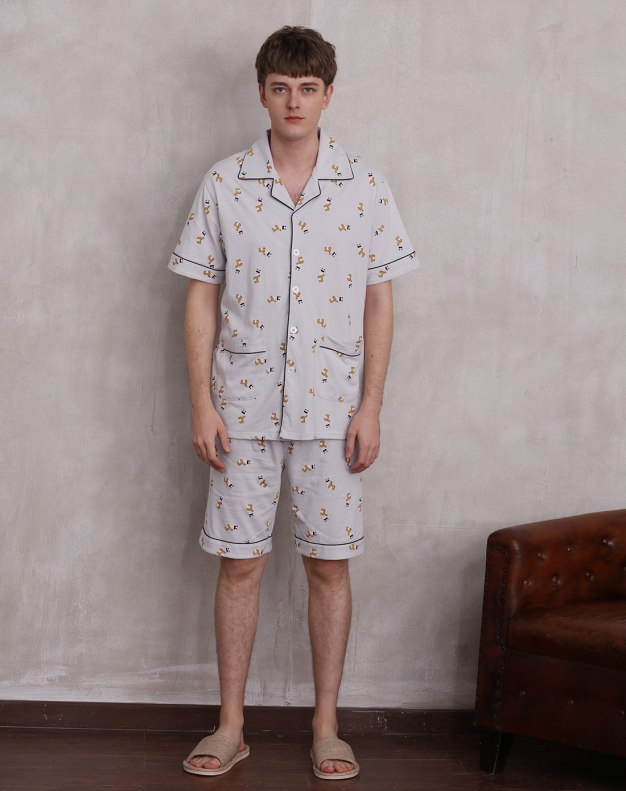 Gray Cotton Thin Men's Sleepwear