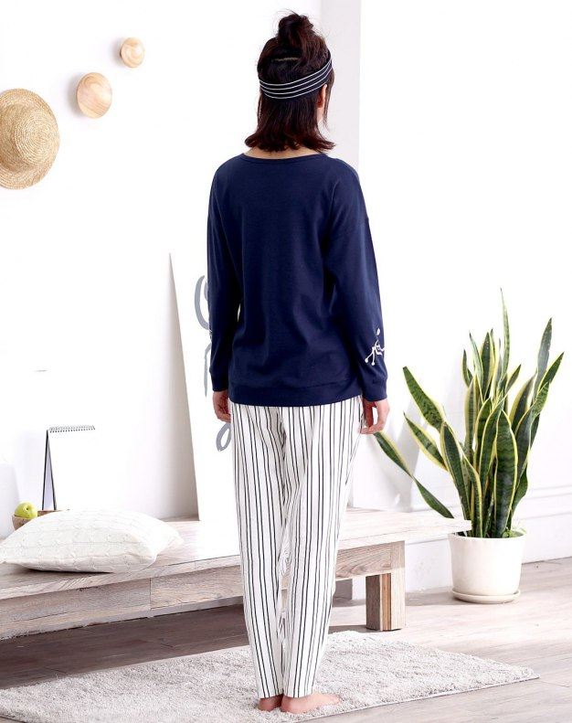 Blue Cotton Thin Women's Sleepwear