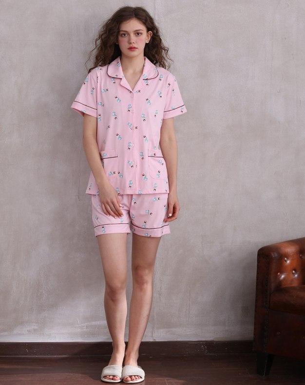 Pink Cotton Thin Women's Sleepwear