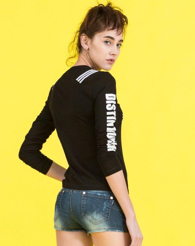 블랙 줄무늬 긴소매 표준 여성 티셔츠