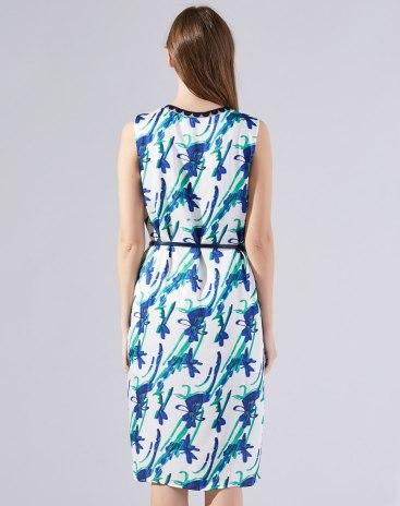 Colourful V Neck Sleeveless Asymmetric Fitted Women's Dress