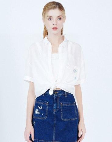 White Plain Polo Neck Short Sleeve Women's Shirt
