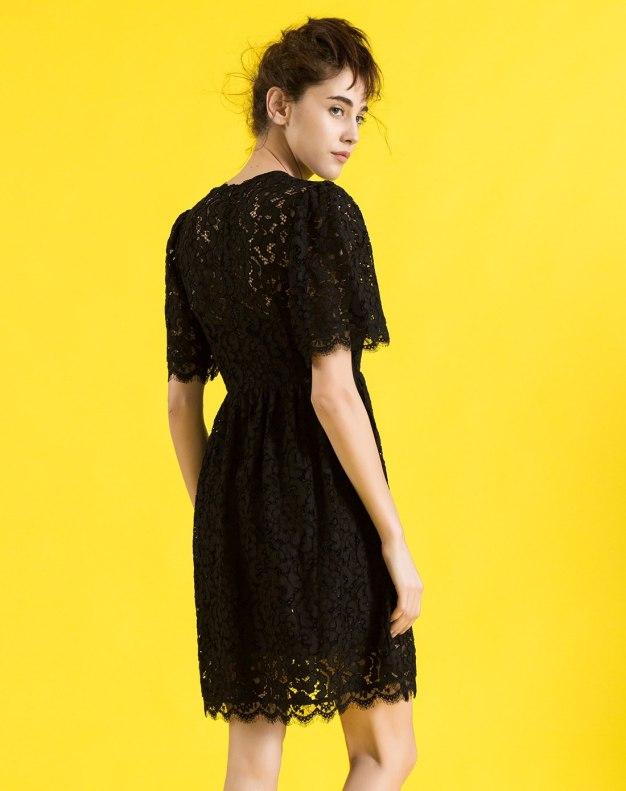 블랙 반소매 기타 여성 드레스