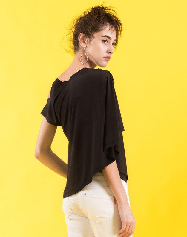 블랙 알파벳 민소매 슬랙스 여성 티셔츠