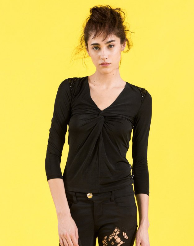 블랙 플라워 프린트 긴소매 슬림핏 여성 티셔츠