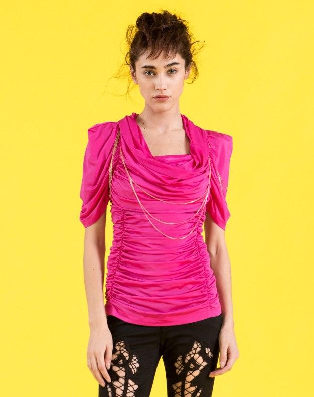 레드 단색의 반팔 표준 여성 티셔츠