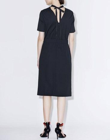 Black Stand Collar Short Sleeve 3/4 Length Women's Dress