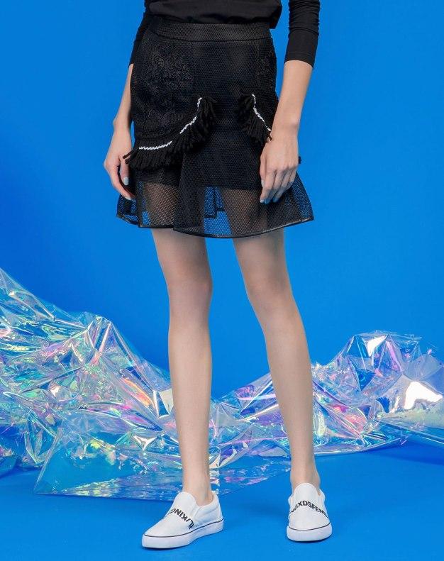 블랙 짧은 치마 여성 주름치마  스커트