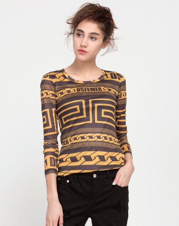 블랙 긴소매 슬림핏 여성 티셔츠