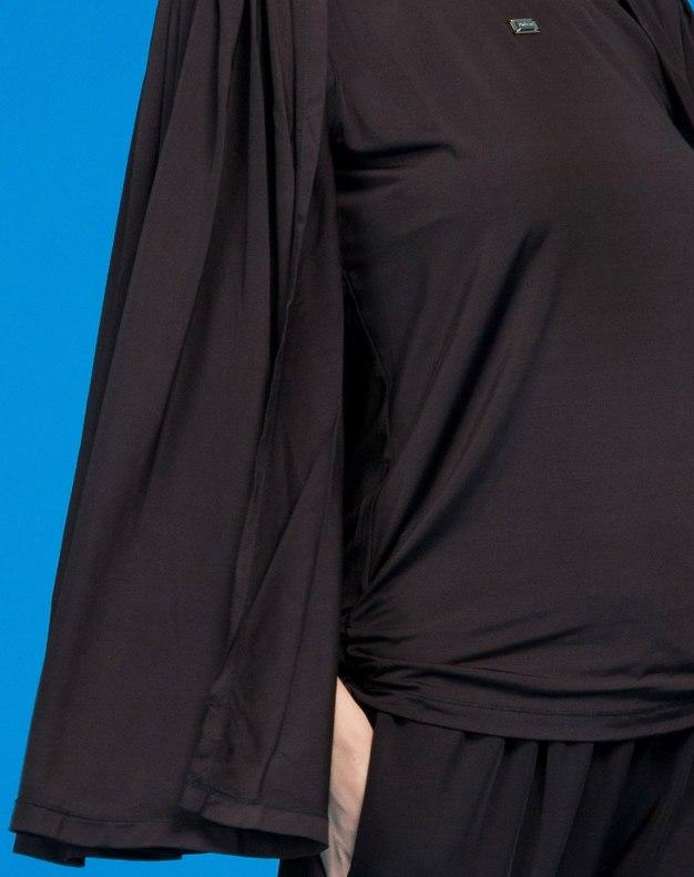 블랙 단색의 표준 여성 티셔츠