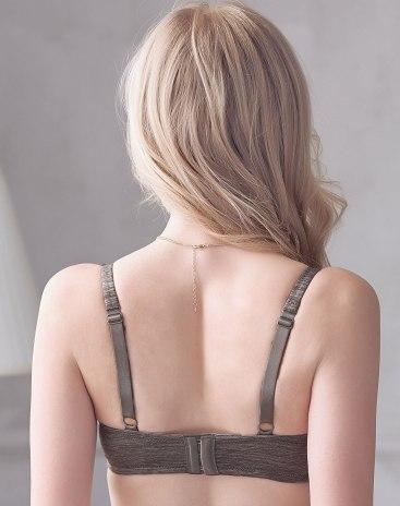 Gray Fixed Shoulder Straps Women's Bra