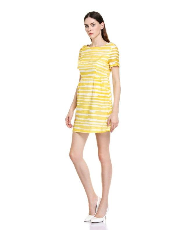 옐로우 반팔 티셔츠 A라인 여성 드레스