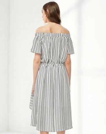 White Off Neckline Sleeve Standard Women's Dress