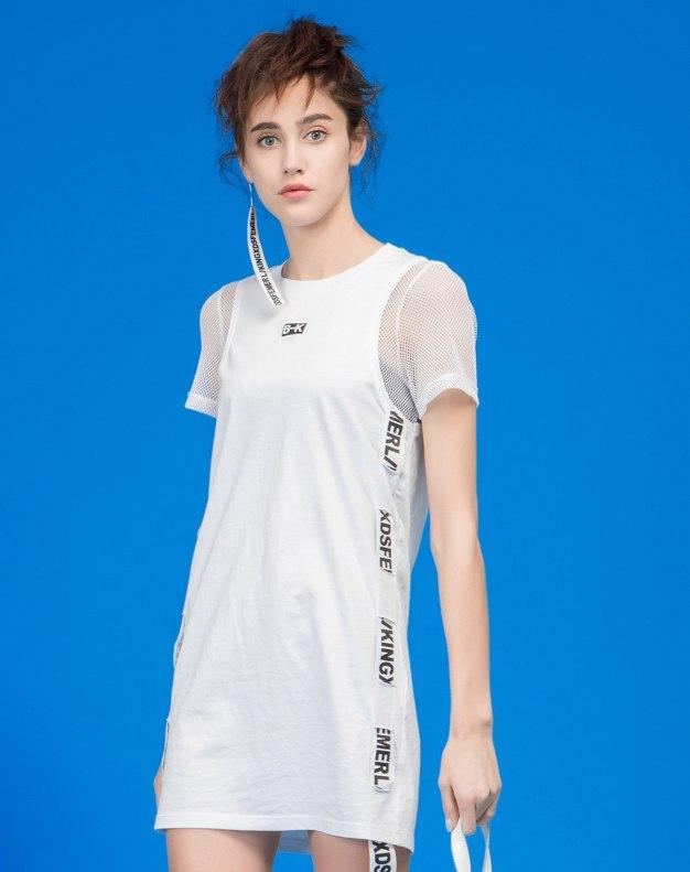 화이트 반팔 티셔츠 기타 여성 드레스