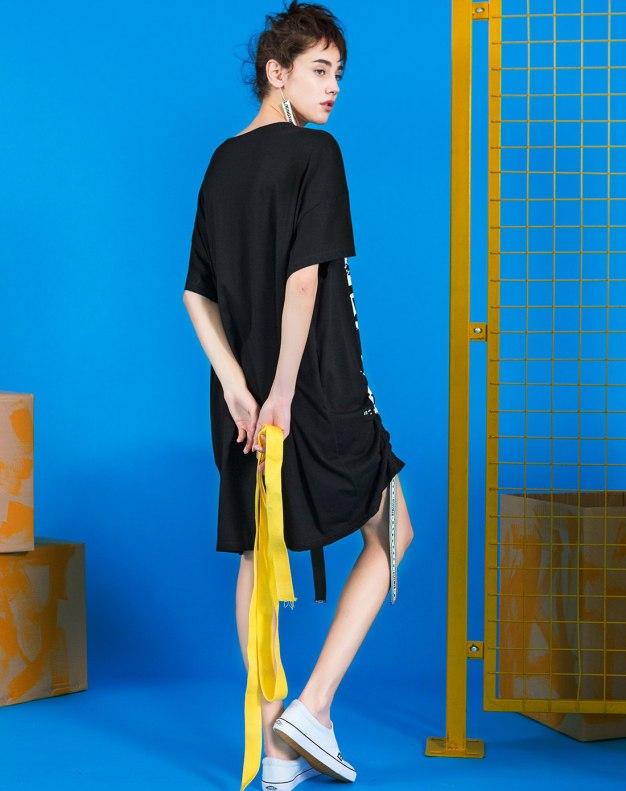 블랙 반팔 티셔츠 기타 여성 드레스