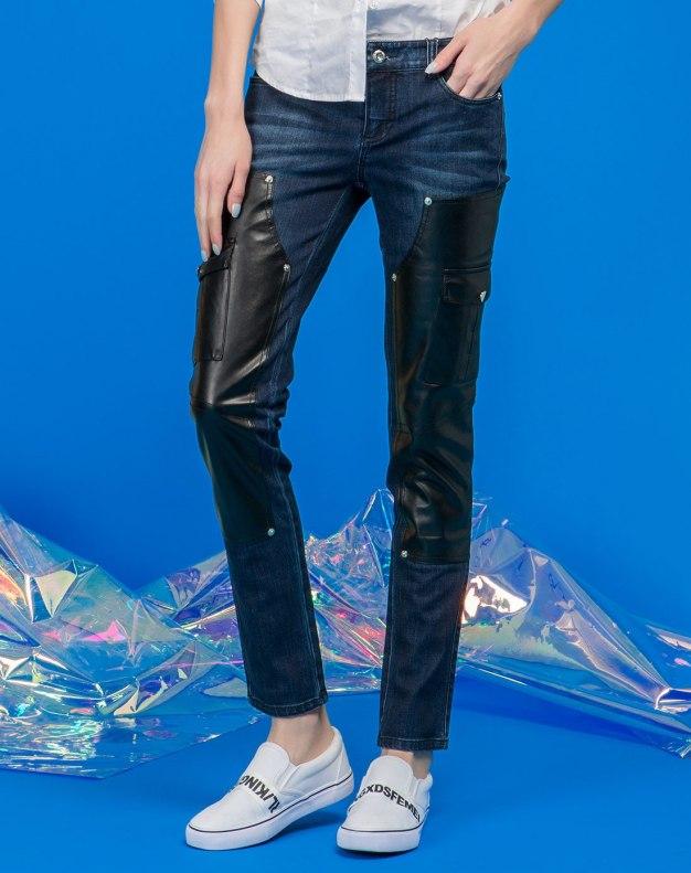 블루 모자이크 디자인 로우웨스트 여성