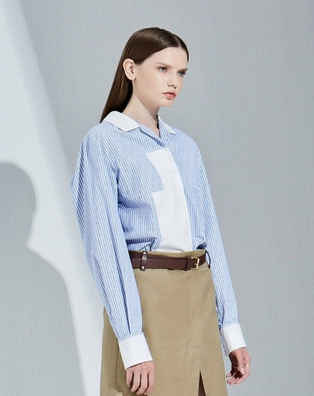 블루 줄무늬 긴소매 표준 여성 블라우스