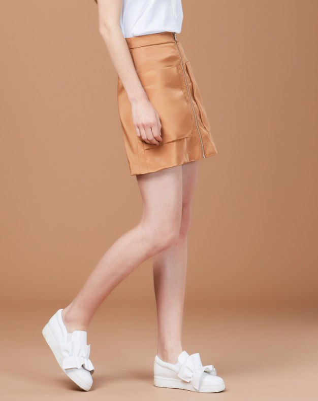 카멜 짧은 치마 여성 A라인 드레스 스커트