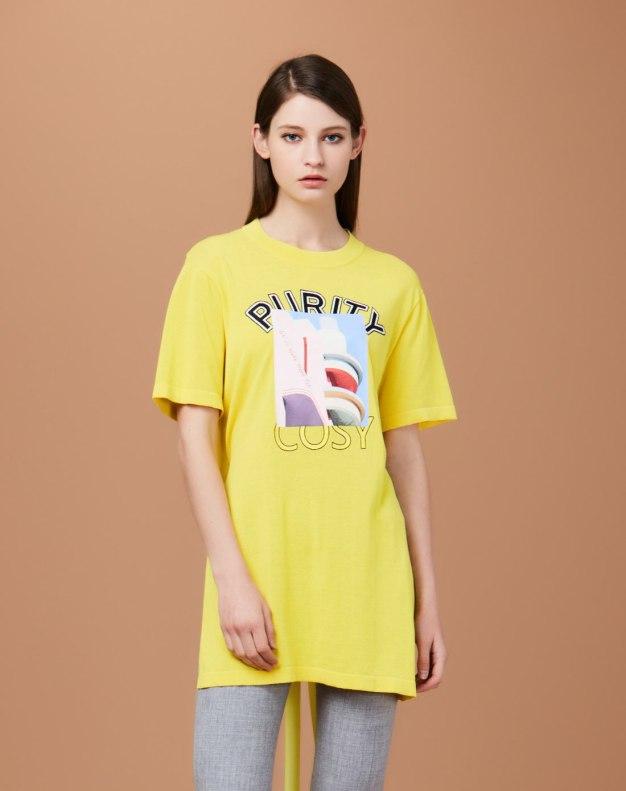 옐로우 알파벳 반팔 티셔츠 표준 여성 니트