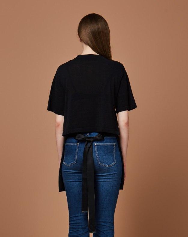 블랙 알파벳 반팔 티셔츠 표준 여성 니트