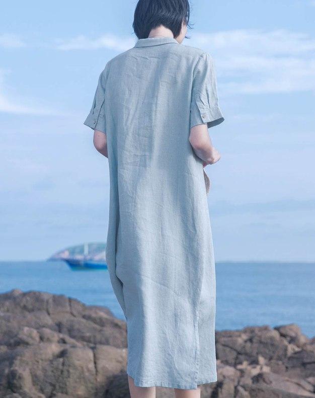 Blue Shirt Collar Sleeve Loose Women's Dress