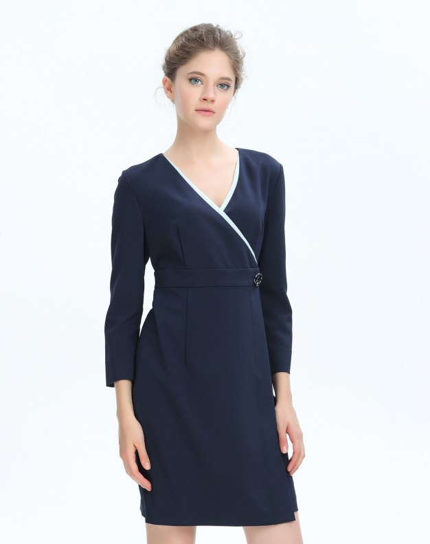 블루 크롭 슬리브 여성 드레스