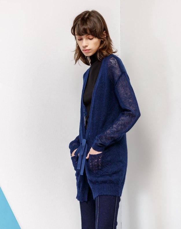 Blue V Neck Drawstring Type Long Sleeve Women's Knitwear