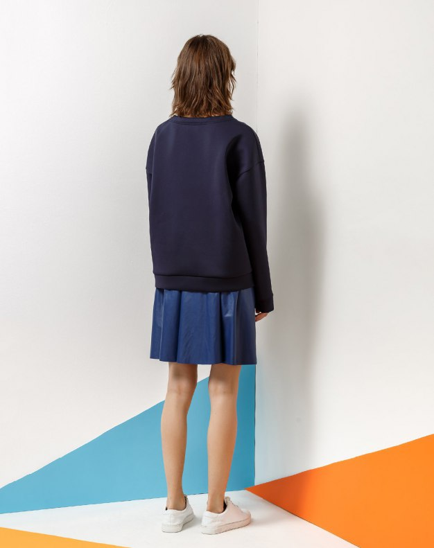 Blue Round Neck Long Sleeve Women's Sweatshirt