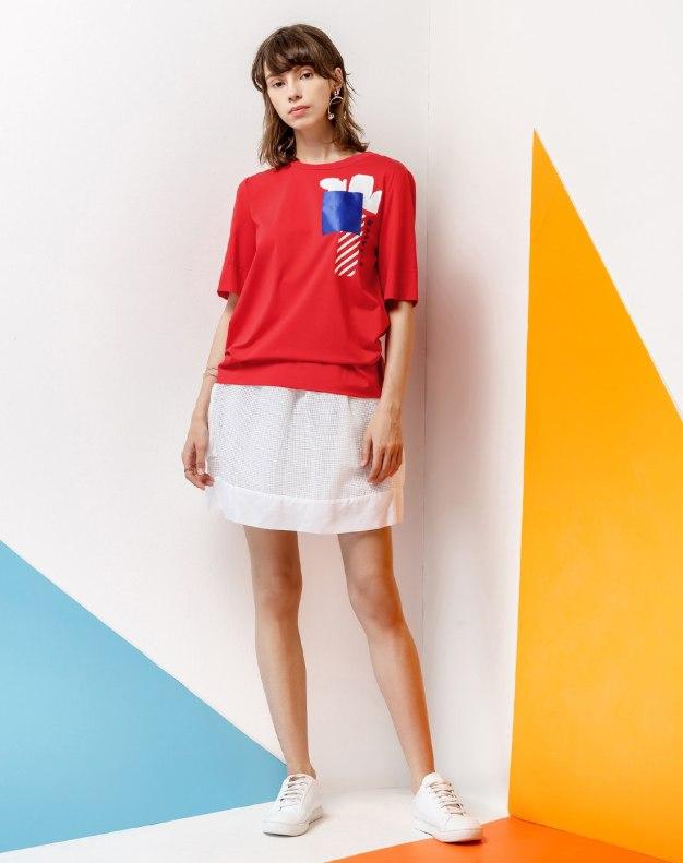Red Round Neck Short Sleeve Standard Women's T-Shirt