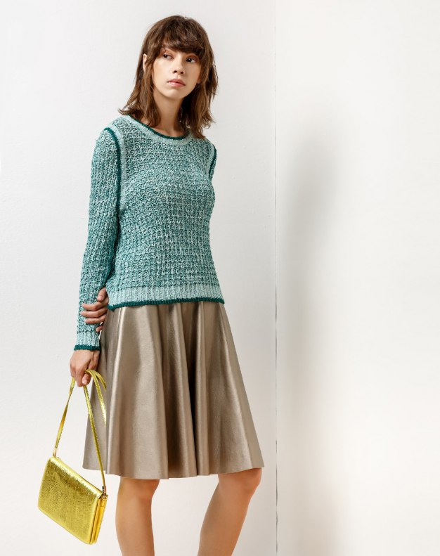 Green Plain Round Neck Elastic Long Sleeve Women's Knitwear