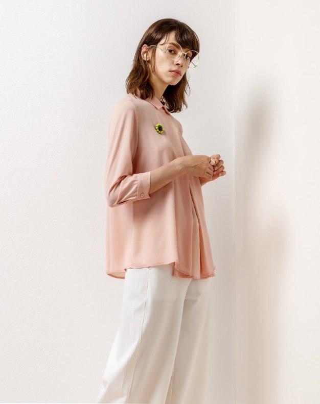Pink Shirt Collar Single Breasted Long Sleeve Women's Shirt