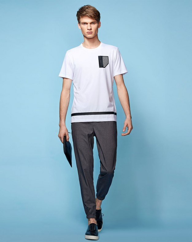 White Round Neck Short Sleeve Fitted Men's T-Shirt