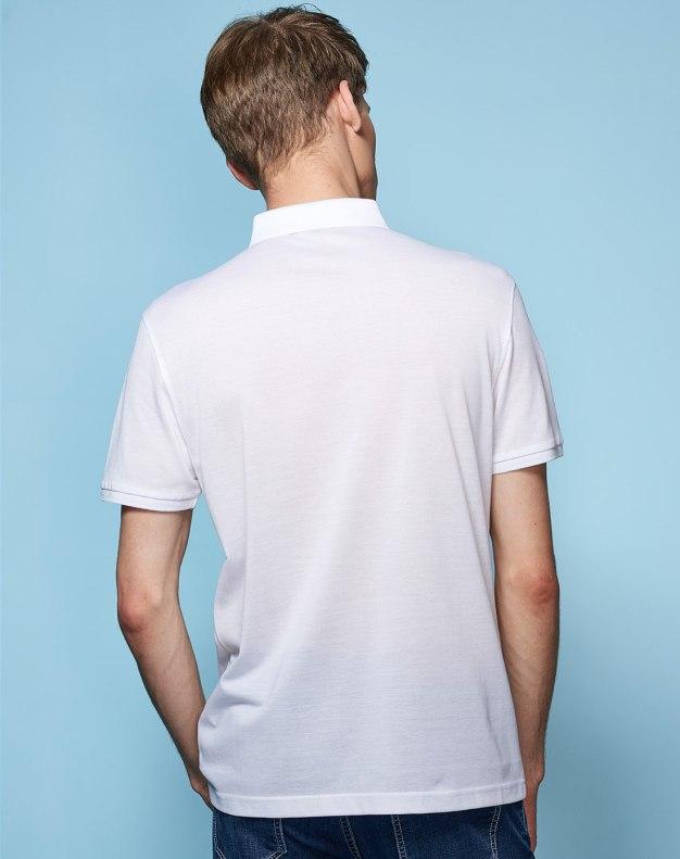 White Plain Lapel Short Sleeve Fitted Men's T-Shirt