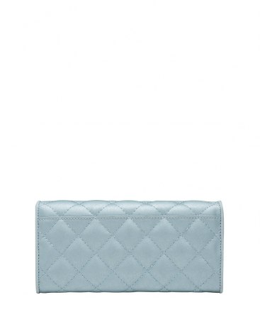 Blue Cowhide Leather Purse(Long) Small Women's Wallet