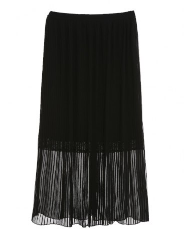 Black Basic Long Skirt Women's  Pleated