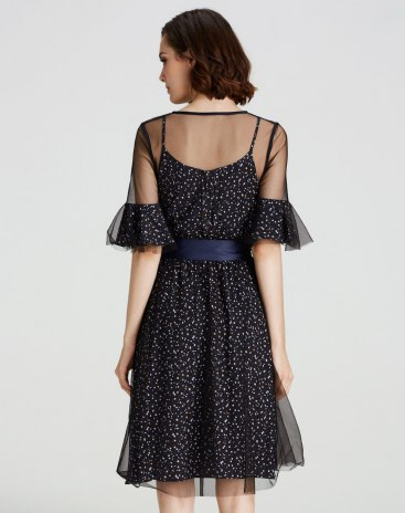 Blue Half Sleeve 3/4 Length A Line Standard Women's Dress