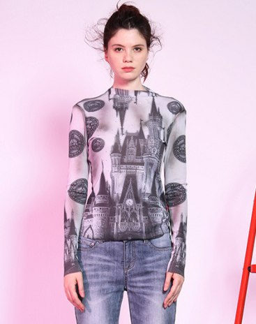 화이트 긴소매 표준 여성 티셔츠