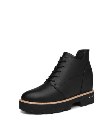 Black Round Head Middle Heel Ankle Boot Portable Women's Boots