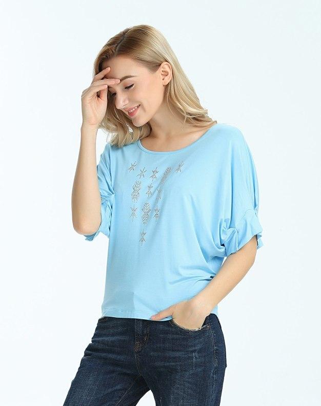 블루 단색의 반팔 티셔츠 슬랙스 여성 니트