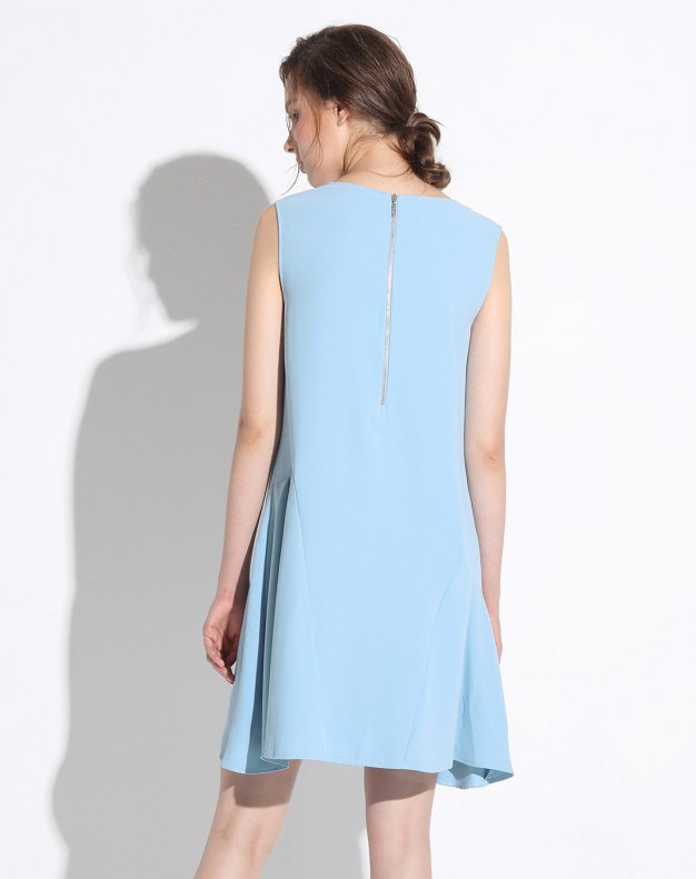 Blue High Waist 3/4 Length Women's Dress