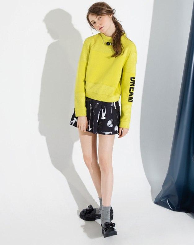 Yellow Stand Collar Long Sleeve Women's Sweatshirt